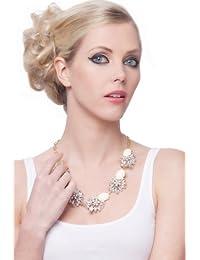 SEXYHER Frisch Und Sweet Bonbon Farben Damen Halskette Kurzer Punkt Mit Kristall Blumen Detail SHWM130909N016