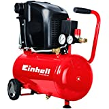 Einhell Kompressor TE-AC 230/24 (1,5 kW, 24 L, Ansaugleistung 230 l / min, 8 bar, ölgeschmiert, große Räder und Haltebügel)