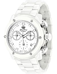 Glam Rock Unisex Quartz Watch With White Dial Analogue Display And Ceramic Bracelet 0.96.2519