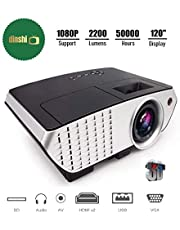 Dinshi Pro 2200 Lumens Multimedia LED Projector with HDMI/Video/VGA Slot (Black)