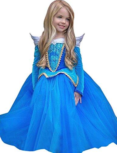 Ninimour Prinzessin Kleid Grimms Märchen Kostüm Cosplay Mädchen Halloween Kostüm Blau, (Kostüm Cosplay Kinder Für)
