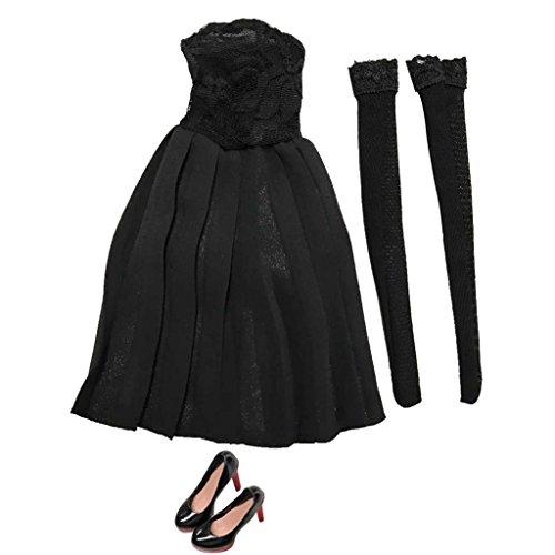 Baoblaze 1/6 Weibliche Actionfigur Kleidung Outfit - Trägerloses Kleid + Strümpfe + High Heels Schuhe - Schwarz (Up Dress Stehen Kleidung)