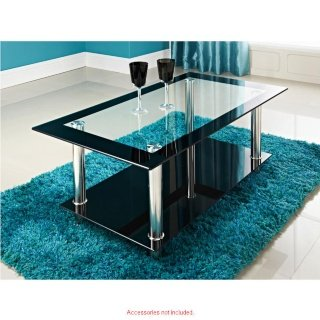 PHOENIX RECTANGULAR CLEAR BLACK GLASS COFFEE TABLE by Phoenix - inexpensive UK light shop.