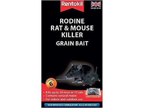 Rentokil Rodine souris et rat Killer Grain Appât Lot de 6 sachets