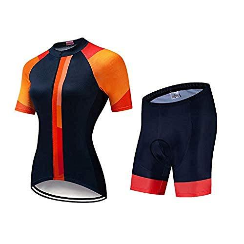 ZA&LA Frauen Radtrikot Skinsuit Jumpsuit Maillot Radfahren Ropa Ciclismo Set Gel Pad (B,S)