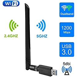 EasyULT Clé WiFi, USB 3.0 WiFi Wireless Adaptateur 1200Mbps Dongle, 2.4/ 5GHz Double Bande, Carte WiFi Antenne 5dBi, Compatible avec Windows XP/Vista/7/8/8.1/10, Linux, Ubuntu, Mac OS X 10.5-10.13