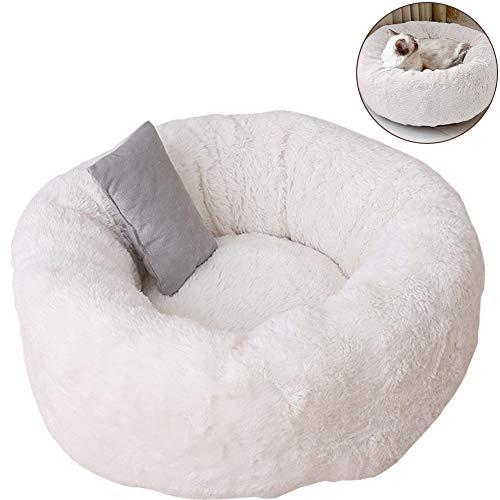 TINTON LIFE Luxus-Haustierbett aus Plüsch mit Kissen für Katzen Kleine Hunde rund Donut Kuschel oval gemütlich selbstwärmendes Katzenbett für Besseren Schlaf, S 15x15x8.7, weiß -