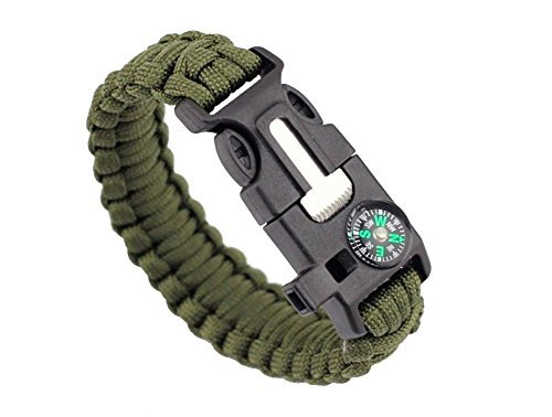 ZENDY Paracord Seil Armband mit Zündstein rostfreiem Schaber und Pfeife und Kompass Multifunktions -Outdoor-Survival (1)