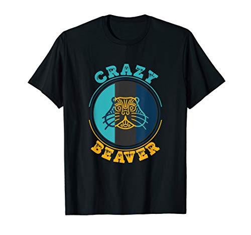 Verrückter Biber Lustiges Tierfan Shirt Damen ()