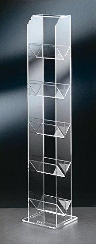 HOWE-Deko Hochwertiger Acryl-Glas CD/CD Regal/CD Aufbewahrung, klar, Außenmaße 20 x 20 cm, H 101 cm, Acryl-Glas-Stärke 6/5 / 4 mm