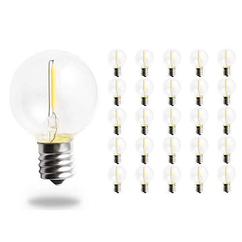 Svater 25 Stück 1W G40 Klare Globe Glühlampen LED, Retro Stil Glas Glühbirnen Ersetzt 10W Glühlampe, E12 Schraube Basis 2700K Warmweiß 360 Grad Abstrahlwinkel Non-Dimmable für Schnur-Licht-E12-Sockel -