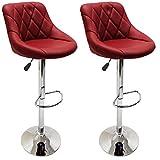 2er Set Barhocker Barstuhl 10 Farben wählbar, 360° frei drehbar, Sitzhöhenverstellung 60-80cm (weinrot) -