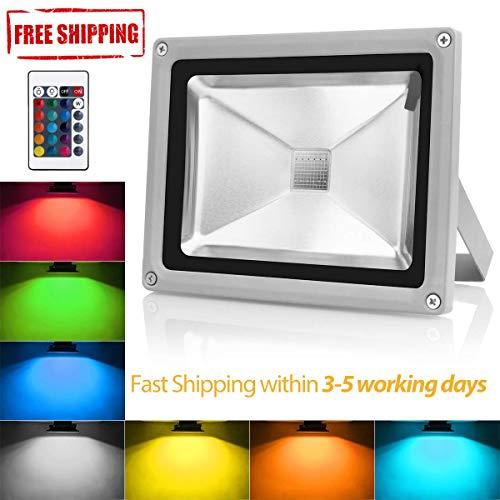 LED Flutlicht 10W RGB Außenstrahler IP65 Wasserdicht Farbwechselnde dimmbare Sicherheitswandbeleuchtung mit Fernbedienung & Stecker (10 W Led Rgb)