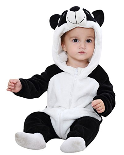 Kidsform Baby Flanell Winter Strampler Outfits Bekleidung Karikatur Tier Jumpsuit Spielanzug Spielzug Playsuit Panda 18-24M (Kleine Kinder Multi Bekleidung)