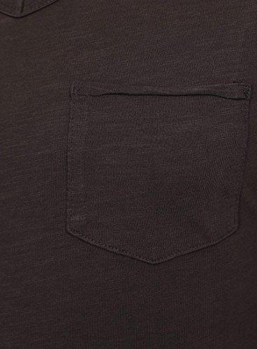 Key Largo Herren Longsleeve AQUA Einfarbig mit Brusttasche Langarm V-Ausschnitt Anthrazit