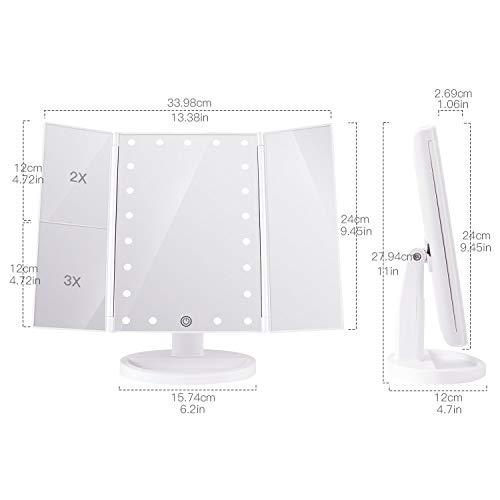 BESTOPE Kosmetikspiegel Beleuchtete Schminkspiegel mit 21 LED-Leuchtmittel Make Up Spiegel 2X/3X Vergrößerung für Arbeits/Tischplatte Bewegliche Kabellose Stromversorgung durch Akku oder USB-Aufladung - 7