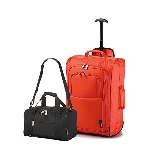 Ryanair Kabinenzugelassenes Handgepäck 55x40x20 & Zweites 35x20x20 Set - Nehmen Sie beide mit! Orange / Schwarz