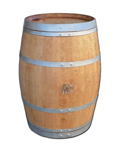 Dekofass, Weinfass geöffnet als Regentonne, Regensammler - Fass geschliffen lackiert mit silbernen Ringen (Fass nur geöffnet)