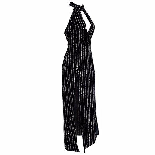 QIYUN.Z Les Femmes Sans Manches Licol Cou Backless Bande Noire Club Ourlet Irreguliere Robe Longue Noir