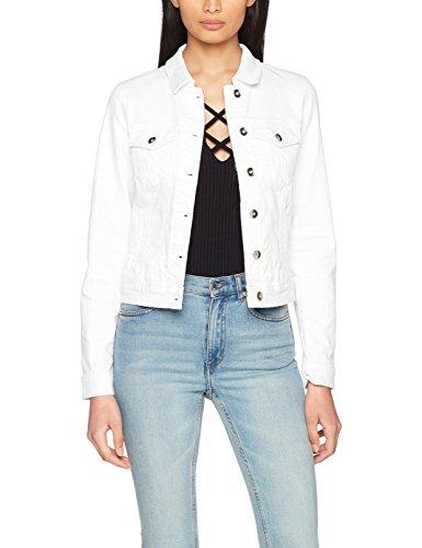 VERO MODA Damen Jacke Vmhot SOYA LS Denim Jacket Mix Noos, Weiß (Bright White Bright White), 38 (Herstellergröße: M)