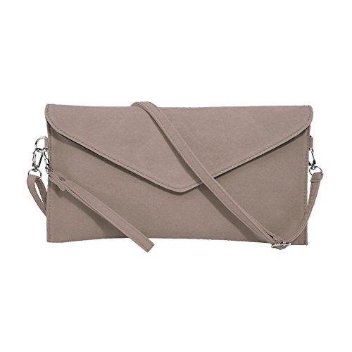 Jieway Frauen Faux Suede Abend Clutch Tasche Schulter Handtasche Messenger Umschlag Taschen(Khaki) -