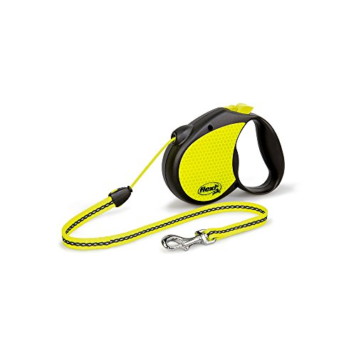 flexi Roll-Leine Neon Reflect M Seil 5 m Neon/schwarz für Hunde bis max. 20 kg