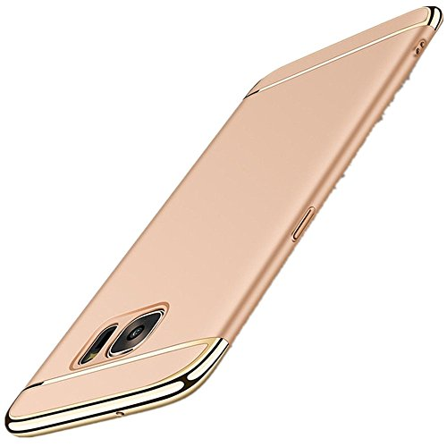 Galaxy S7 edge S7 Hülle 3 in 1 Ultra Dünner PC Harte Case 360 Grad Ganzkörper Schützend with Electroplated Bumper Anti-Kratzer Shockproof Hard Matt für Samsung s7CaseCover (Galaxy S7, (Gold Handschuhe Metallic Galaxy)