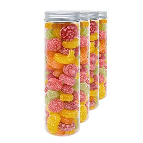D' luxy pack 4 barattoli di polietilene alimentare, 0,40 l (20x5 cm). contenitori con coperchi in alluminio a vite. riciclabili. 100% senza bpa.