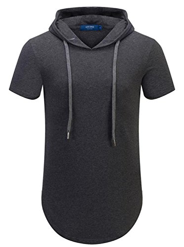 AIYINO Herren Reißverschluss Long Shaped Streetwear Hip Hop T-Shirt (XL, Dunkelgrau)
