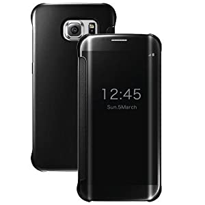 Johra Luxury Clear View Mirror Smart View Case Flip Cover For Samsung Galaxy S7 Edge - Black