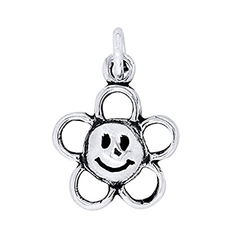 Sterling Silber Happy Face Flower Charm (ca. 15x