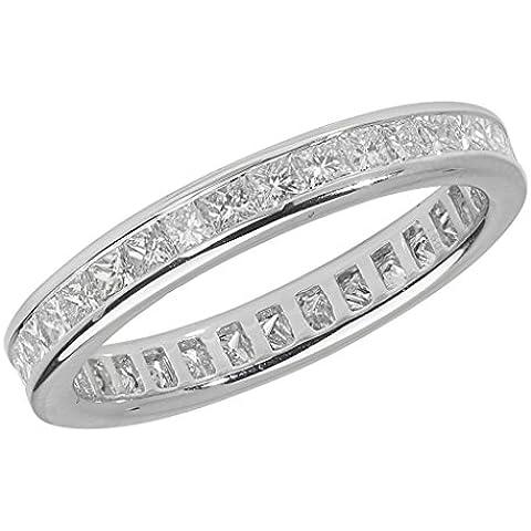 Full Eternity-Anello in platino con diamanti incastonati a canale