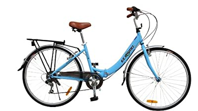 "ECOSMO 26"" New Folding Ladies Shopper City Bicycle Bike 7 SP SHIMANO -26ALF08B"
