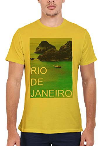 Rio de Janeiro Nature Retro Vintage Cool Men Women Damen Herren Unisex Top T Shirt Licht Gelb