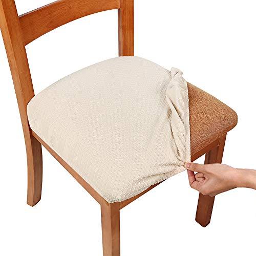 Homaxy Stretch Spandex Jacquard Esszimmerstuhl Sitzbezüge, herausnehmbarer waschbarer Anti-Staub Esszimmerstuhl Sitzkissen Hussen - 4er Set, Beige - Sitzkissen Für Esszimmerstühle