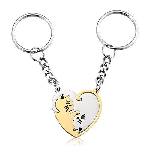 Jovivi - Juego de 2 llaveros para Parejas, diseño de corazón, Acero Inoxidable, Color Plateado y Dorado