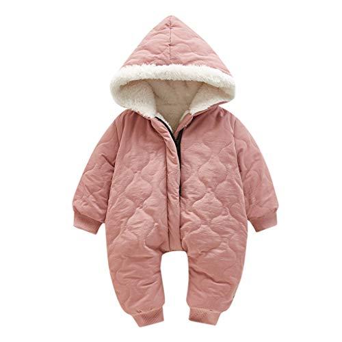 Livoral Baby Winter Jacke Kid Girl Baby Zip dicken Schneeanzug Hoodie Mantel Overall Outfit(Rosa,12-18 Monate)