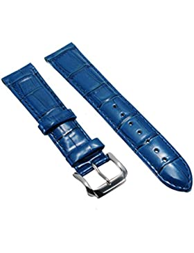 20mm Herren Damen Blau Genuine Leder Vintage Klassische Uhren-Armband Uhrenarmbänder Uhrband Watch Band Watch...