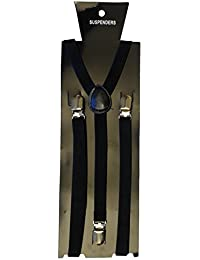 chinkyboo Womens' Mens Braces Plain Black Suspenders Plain Adjustable Unisex fancy dress