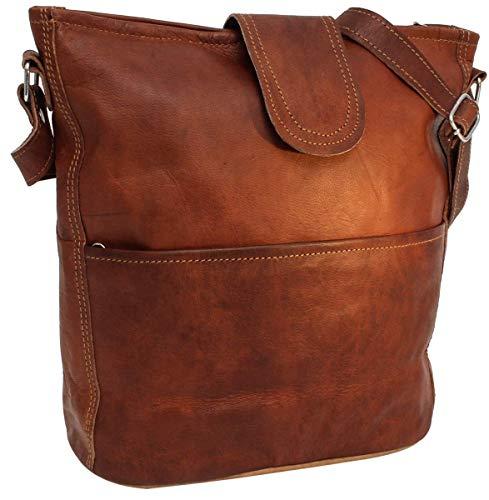 "Handtasche Leder Gusti nature \""Jacqueline\"" Umhängetasche Shopper Ledertasche Damen Vintage Look Naturleder Braun"