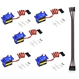 QooTec SG90 Micro Servo Motor Set of 5 for RC Robot Helicopter Airplane Controls Car Boat EU043 -