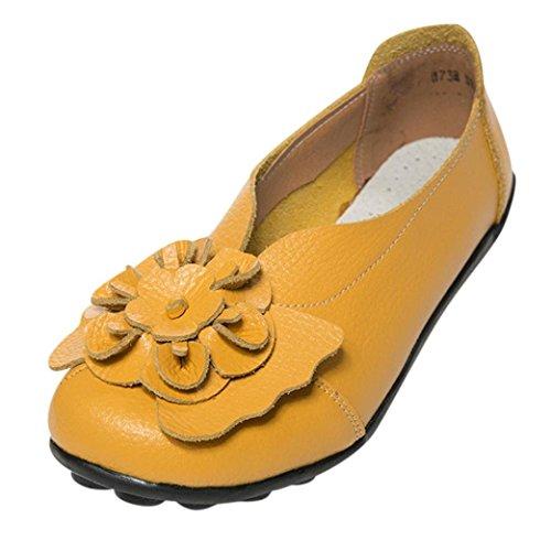Lazzboy Damen Herbst Schuhe Freizeit Lady Flach Sandalen Leder Knöchel Slipper Soft Schuhe (Gelb,39.5)