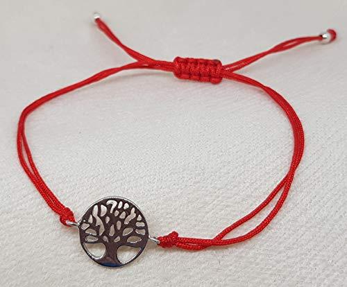 Imagen de mystic jewels by dalia  pulsera 925 plata de ley  arbol de la vida  macrame hilo rojo  ajustable  para regalar hilo rojo  plata  alternativa