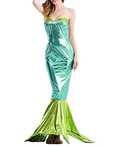 Cosplay Meerjungfrau Rock Damen Halloween Kostüm Schick Party Maxi Kleid Schwanz Skirt Grün L
