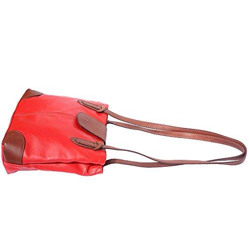 Borsa a spalla con doppi manici 015 Rosso-marrone