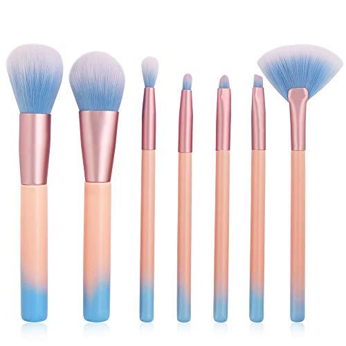 KAJIWWA 7Pcs Set de pinceaux de maquillage pour le salon | Kit de beauté brosses | Ombre à paupières, sourcils, blush, ombre, cache-cernes, poudre Maquillage contour de visage