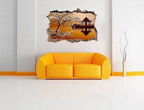 Pixxprint 3D_WD_S2245_62x42 wundervoller Kirschbaum an Japanischem See Wanddurchbruch 3D Wandtattoo, Vinyl, bunt, 62 x 42 x 0,02 cm