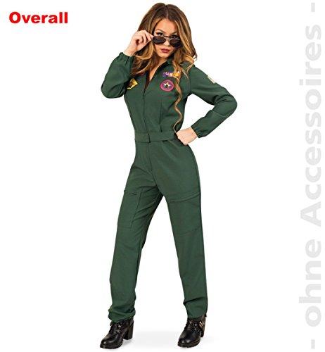 FRIES Damen Kostüm Kampfpilotin Overall Karneval Fasching