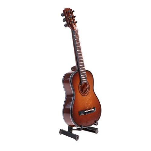 KESOTO Casa De Muñecas Hecha A Mano Instrumento Musical Modelo De Guitarra De Madera Escala 1/8 - marrón, 14cm