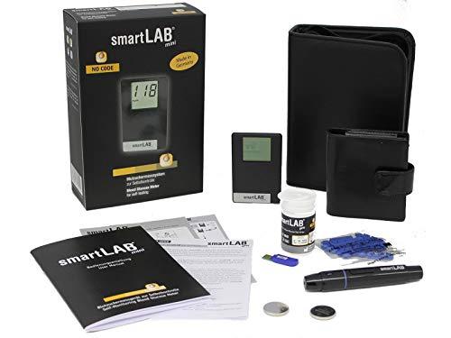 smartLAB mini Blutzuckermessgerät Set mg/dL mit 10 Teststreifen und 10 Lanzetten im Scheckkartenformat ideal für Unterwegs